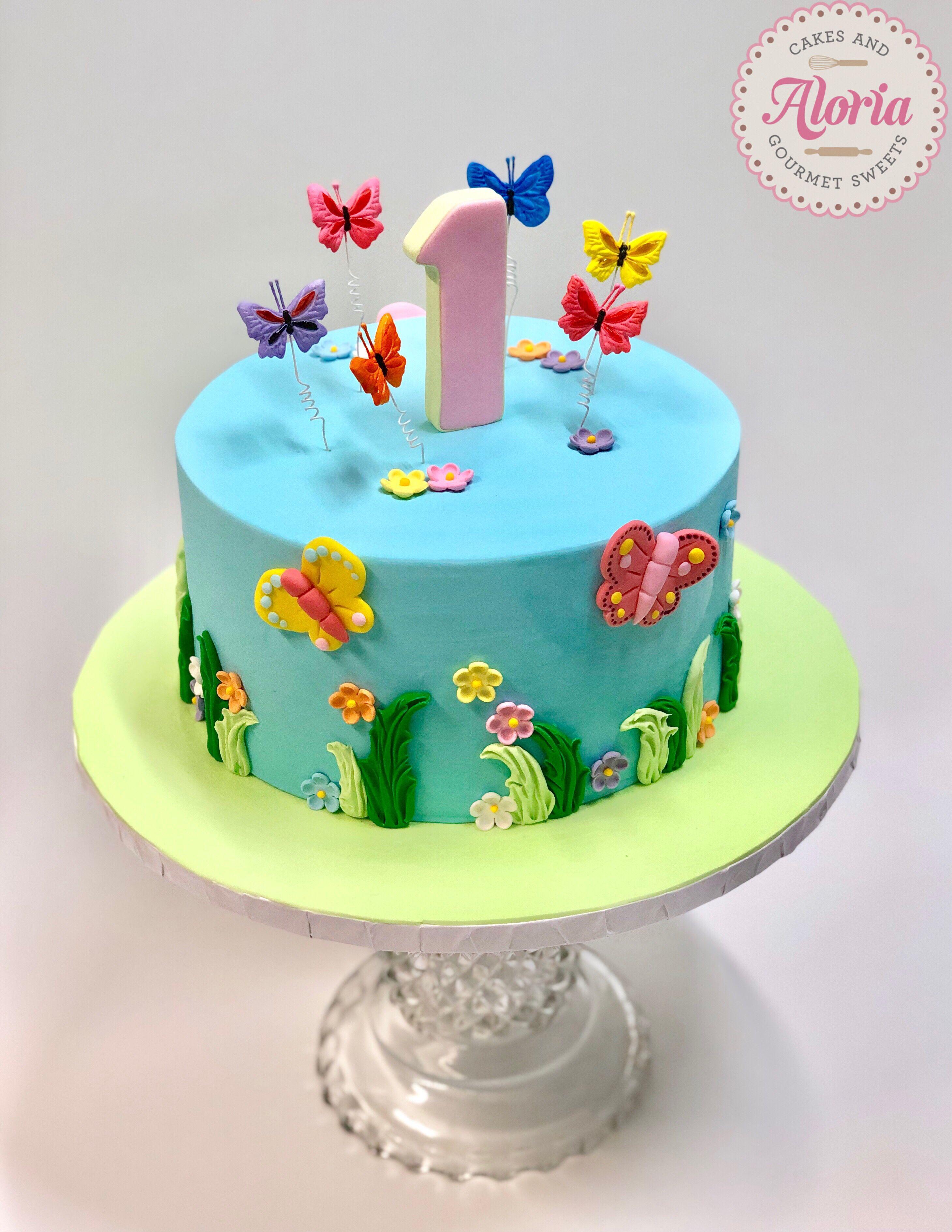 Superb First Birthday Cake Garden Cake Butterfly Cake Butterfly Funny Birthday Cards Online Kookostrdamsfinfo
