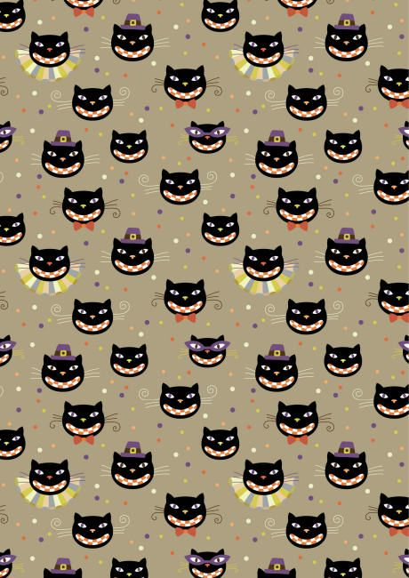 006 Free printable Halloween scrapbook paper with black cats