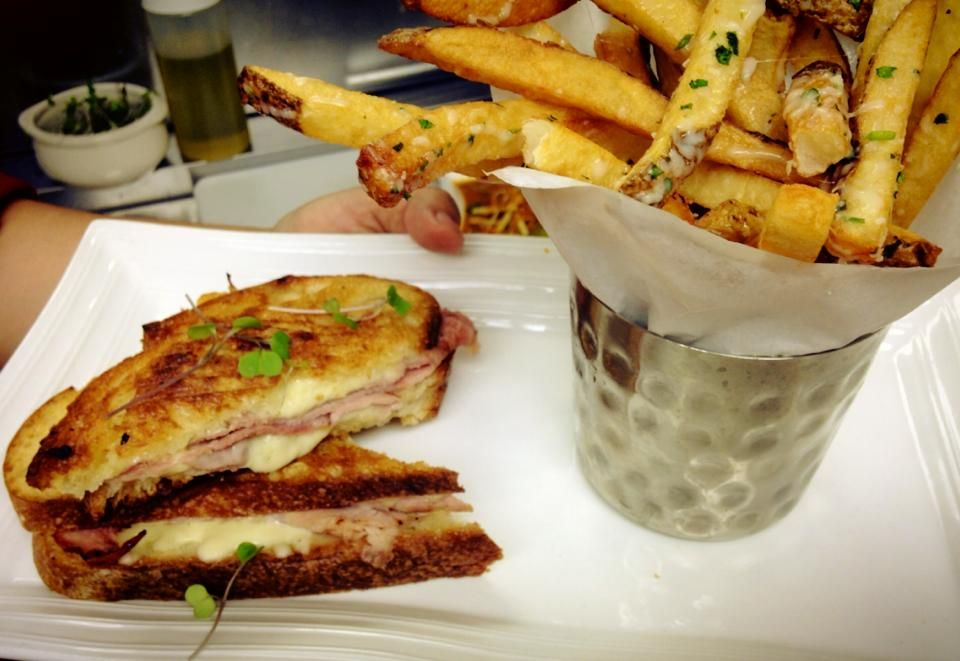 Lunch time! Ham and Cheese Panini with Camembert, Stone House cheddar and fresh mozzarella served with house made fries.