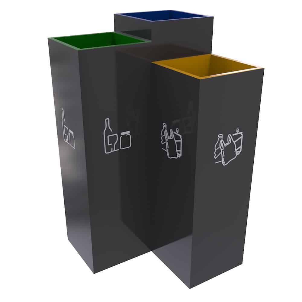Bergen Poubelle De Tri Trois Compartiments Pour Tri Selectif