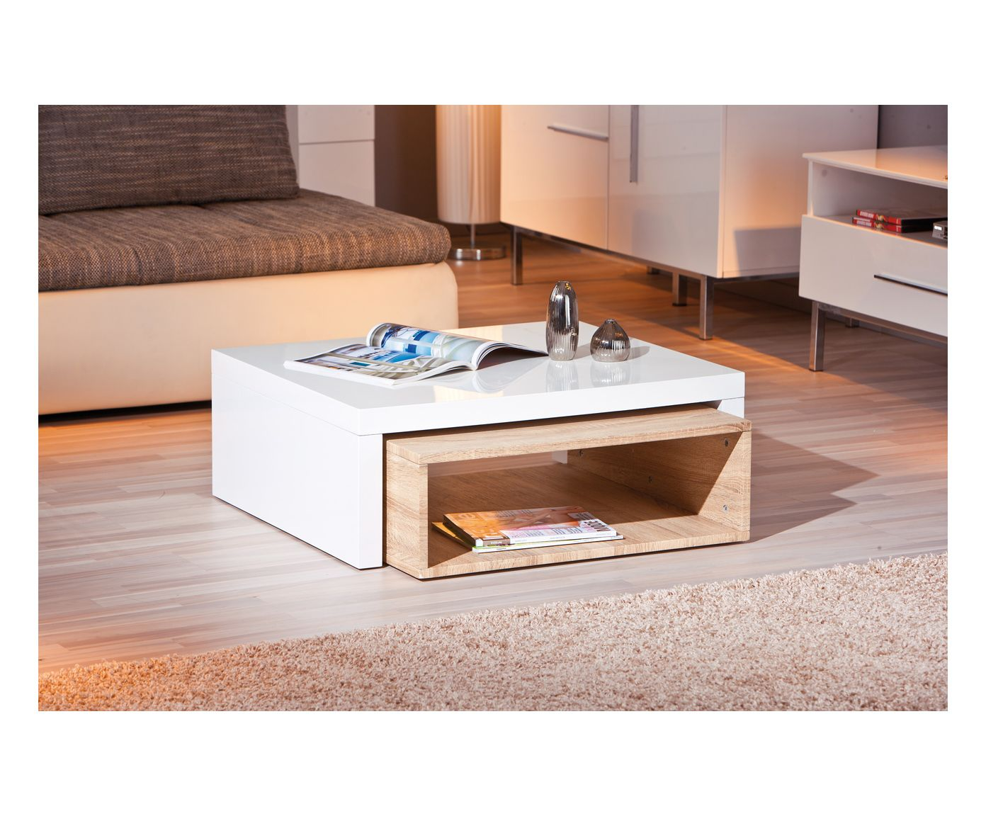 Table basse bianca bois de ch ne blanc et naturel - Table basse blanc et chene ...