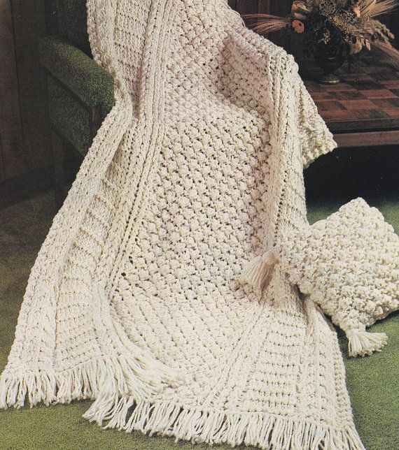 Instant Download PDF - Aran Afghan Knitting Pattern - Bulky Quick ...