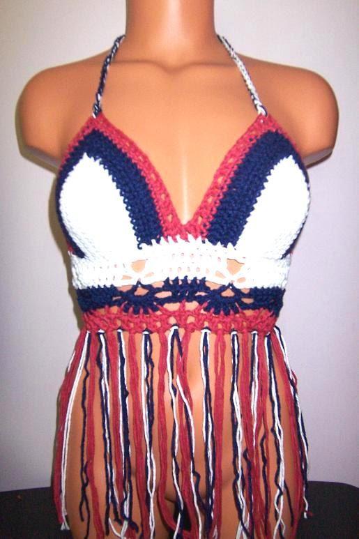 080413fab1ba Crochet Color of Flag Fringe Halter Tank Top Crochet Top by vikni