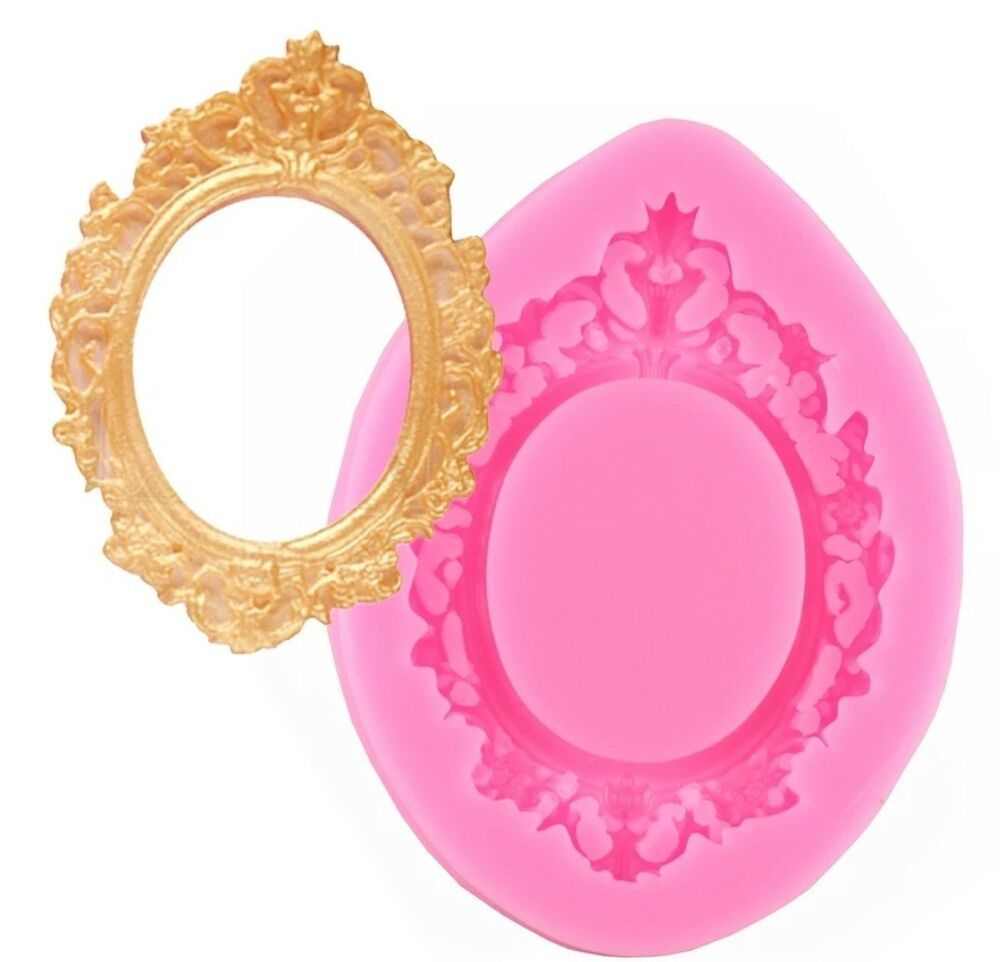 Vintage Mirror Frame Silicone Mould Mold Ornate Oval Fondant Baroque Heart Resin Fondant Silicone Molds Mirrored Picture Frames Cake Mold