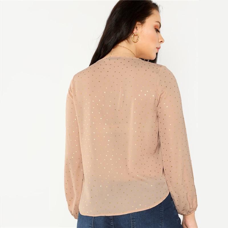 fbe322ba8cd SHEIN Pink Long Lantern Sleeve Polka Dot Plus Size Women Blouse  blouses   Sexy  latinaorgullosa  sisepuede  ladysclothing  latinapresumida  vtops   sexywomen ...