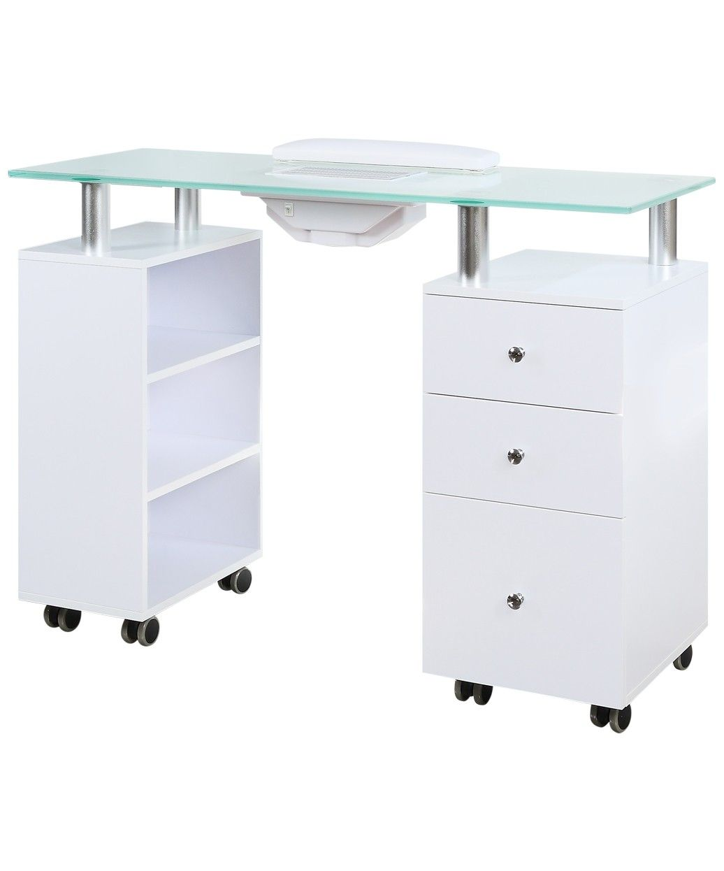 J A Manicure Nail Table With Vent Glass Top By Buy Rite Manicure Table Open Cabinets Glass Top