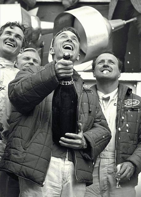 Dan Gurney and A.J. Foyt, 24 Hours of Le Mans, 1967. In the space of three weeks, Foyt wins Indy, Gurney and Foyt win Le Mans, and Gurney wins the Belgian GP. And Gurney invents the champagne spray. Two of the coolest drivers, ever.