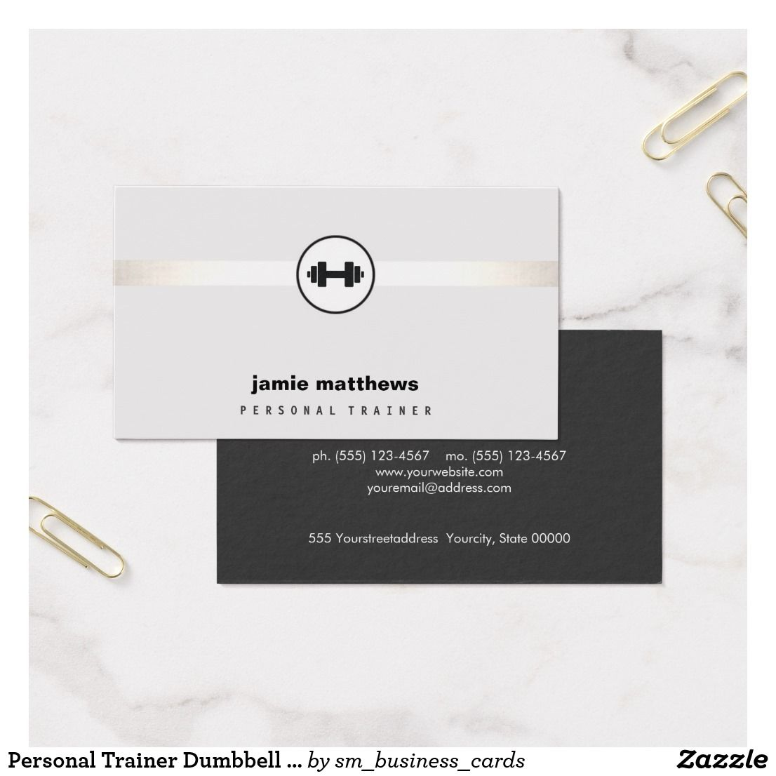 Personal Trainer Dumbbell Logo Fitness Instructor Business Card ...