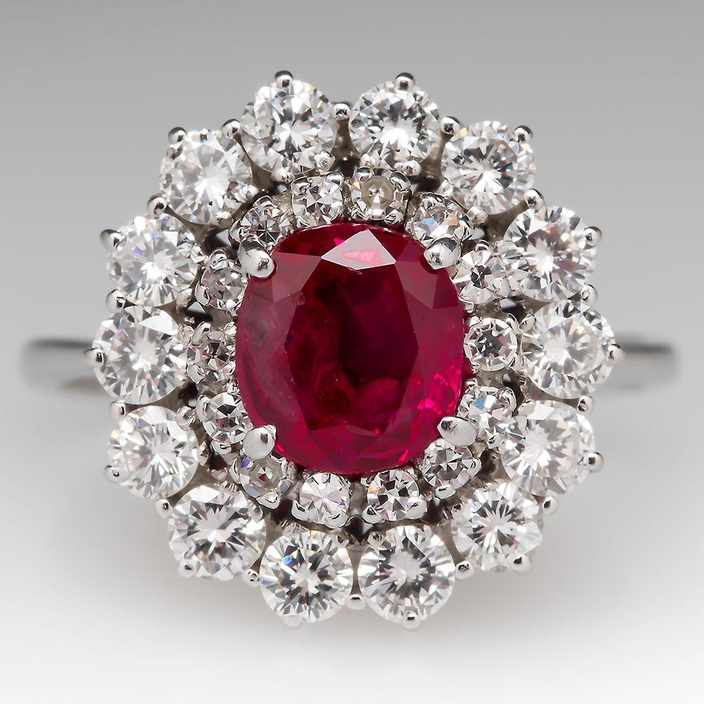 1.3 Carat Ruby & Diamond Halo Ring 18K
