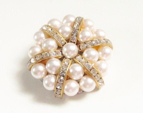 Vintage Pearl Clear Rhinestone Brooch Pin by GrandVintageFinery, $16.95
