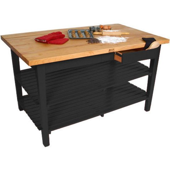 "24"" D Classic Country Work Table Kitchen Island With 2"