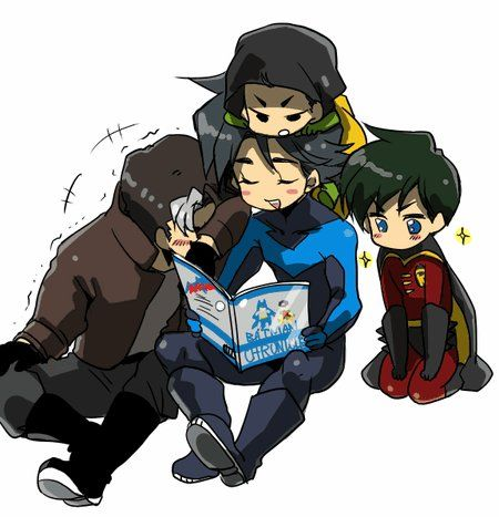Dick reading like a good big brother, Damian whining like the typical youngest, Tim totally attentive like the good boy he is, and Jason shaking with silent laughter, trying to seem cool but actually probably enjoying it