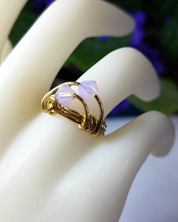 2239a3f4d Pink Crystal Midi Ring Gold Wire Wrapped Geometric Ring Size 6 Stacking Ring  Art Deco Ring Handmade Rings for Women Opaque Bead Jewelry by JewelsInspire  on ...