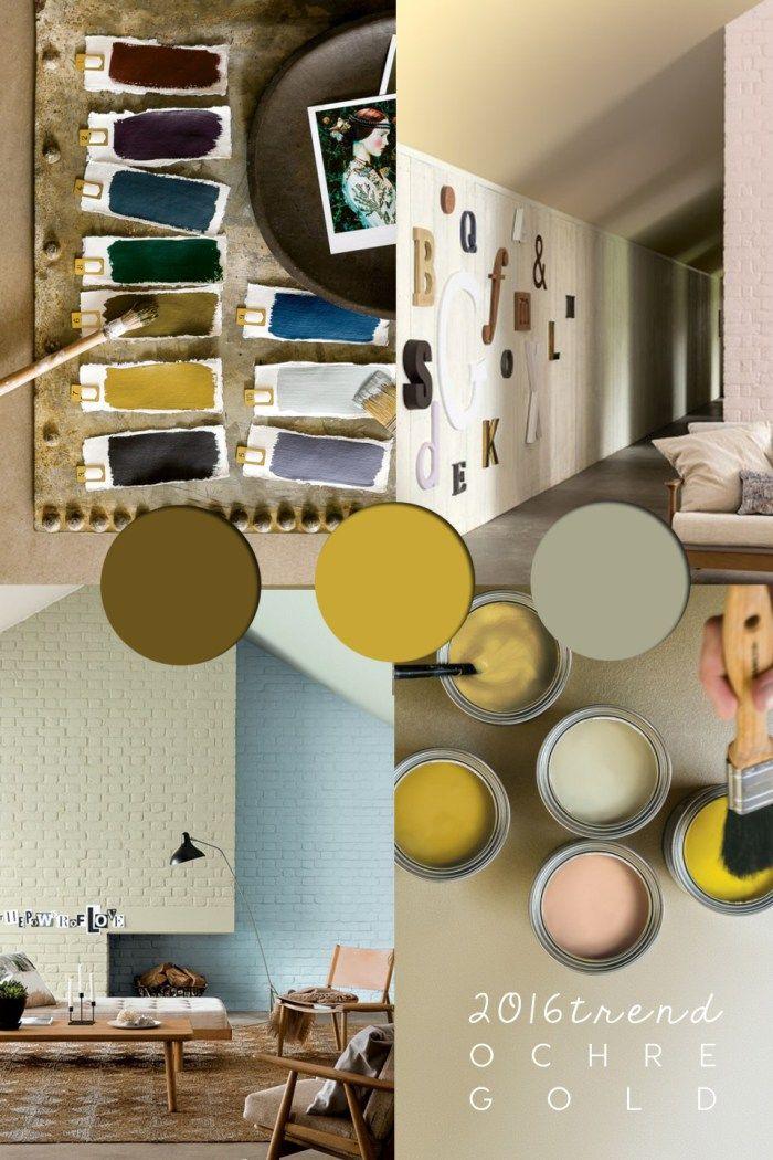 Ochre Color Colour Trends Palette And Green Wall PaintsGreen WallsInterior Design BlogsColor Palettes