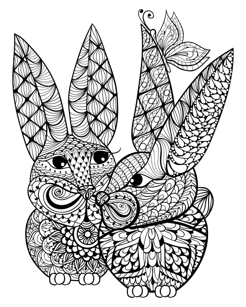 bunnies and a butterfly advanced coloring - Advanced Coloring Pages Butterfly