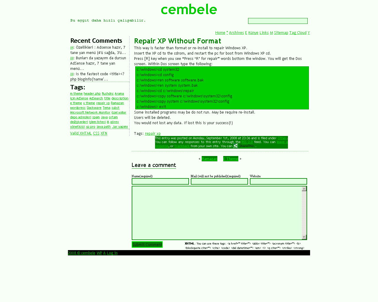 Simple green css theme, with 5 template pages, widget ready ...