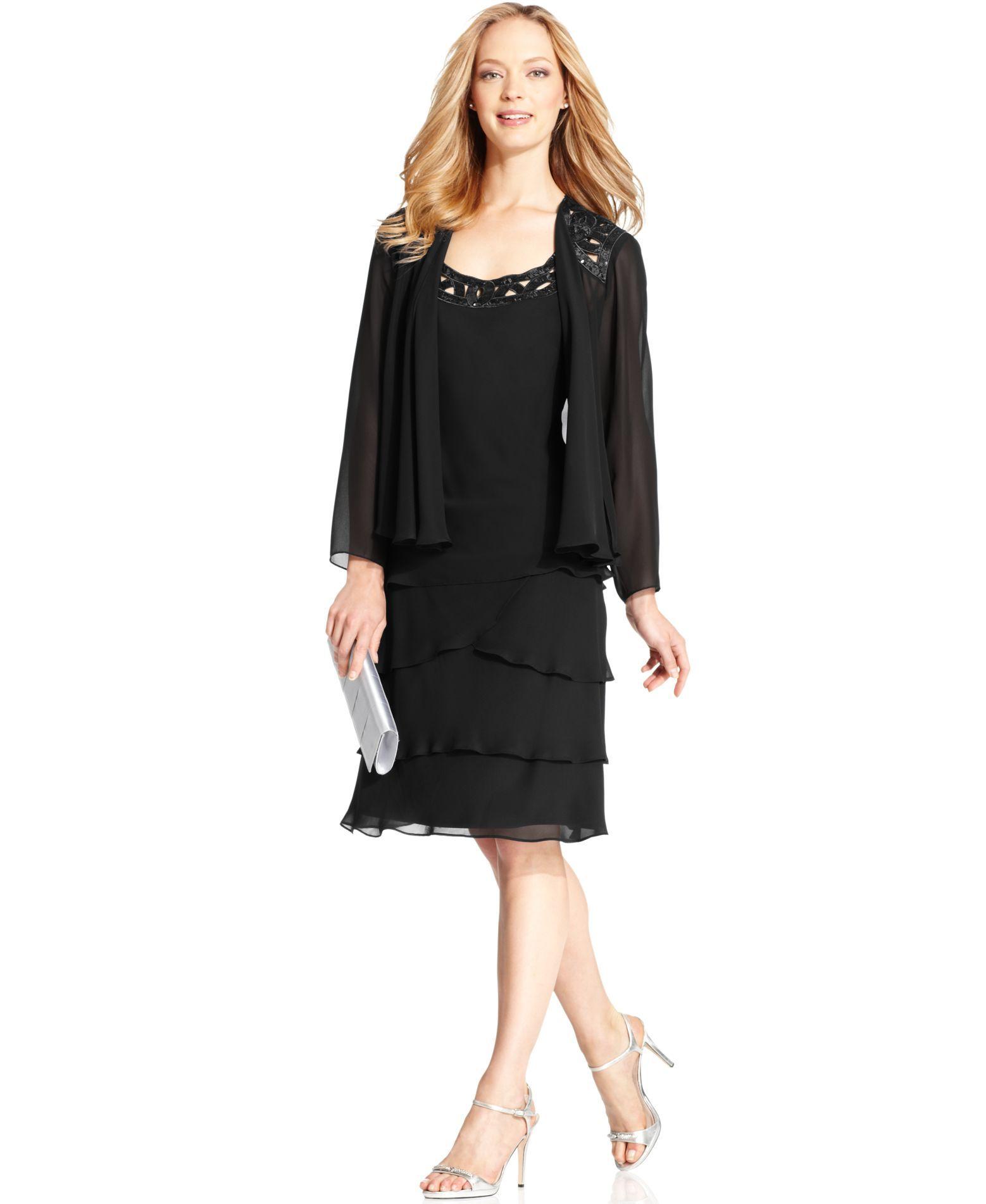 Sl sl fashion dresses - Sl Fashions Sleeveless Sequin Tiered Dress And Jacket