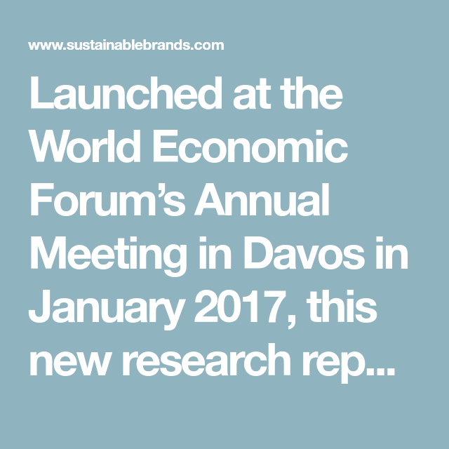 Launched At The World Economic Forum's Annual Meeting In