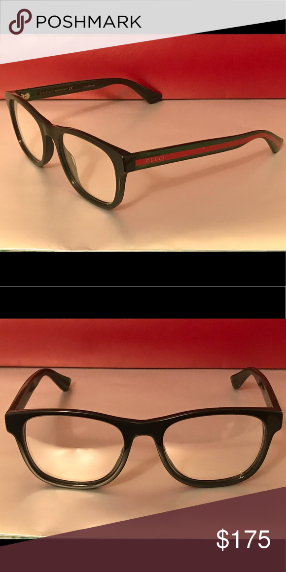 c8cb38dfbb Authentic Gucci Eyeglass Frames Black Green   Red Glitter Arms Gucci  Accessories Glasses