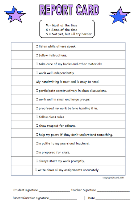 An Informal Little Report Card That Encourages Self Reflection Parents Love It