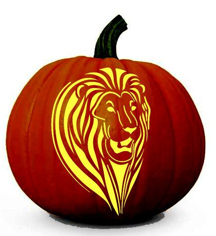 Lion face halloween pumpkin carving stencil spooky for Pumpkin cut out ideas