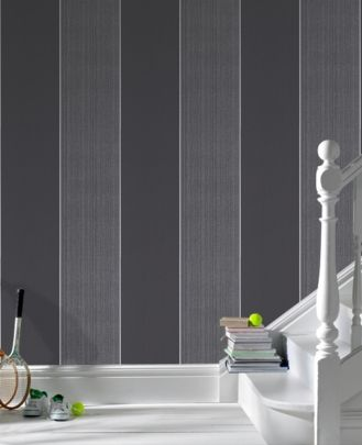 Best Bold Stripe Black Charcoal Wallpape Wallpaper Bedroom 400 x 300