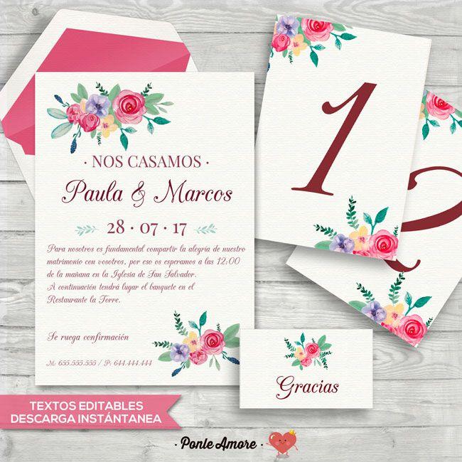 Kit imprimible invitación de boda floral   Invitaciones de Boda ...