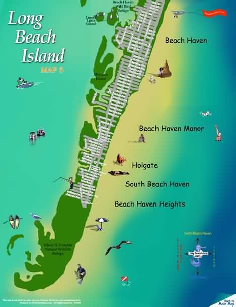 Map Of Long Beach Island LBI make a yearly vacation   rent house. Long Beach Island New