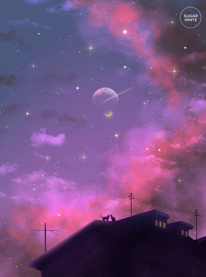 Anime Art Postcard: Starcrossed Cats