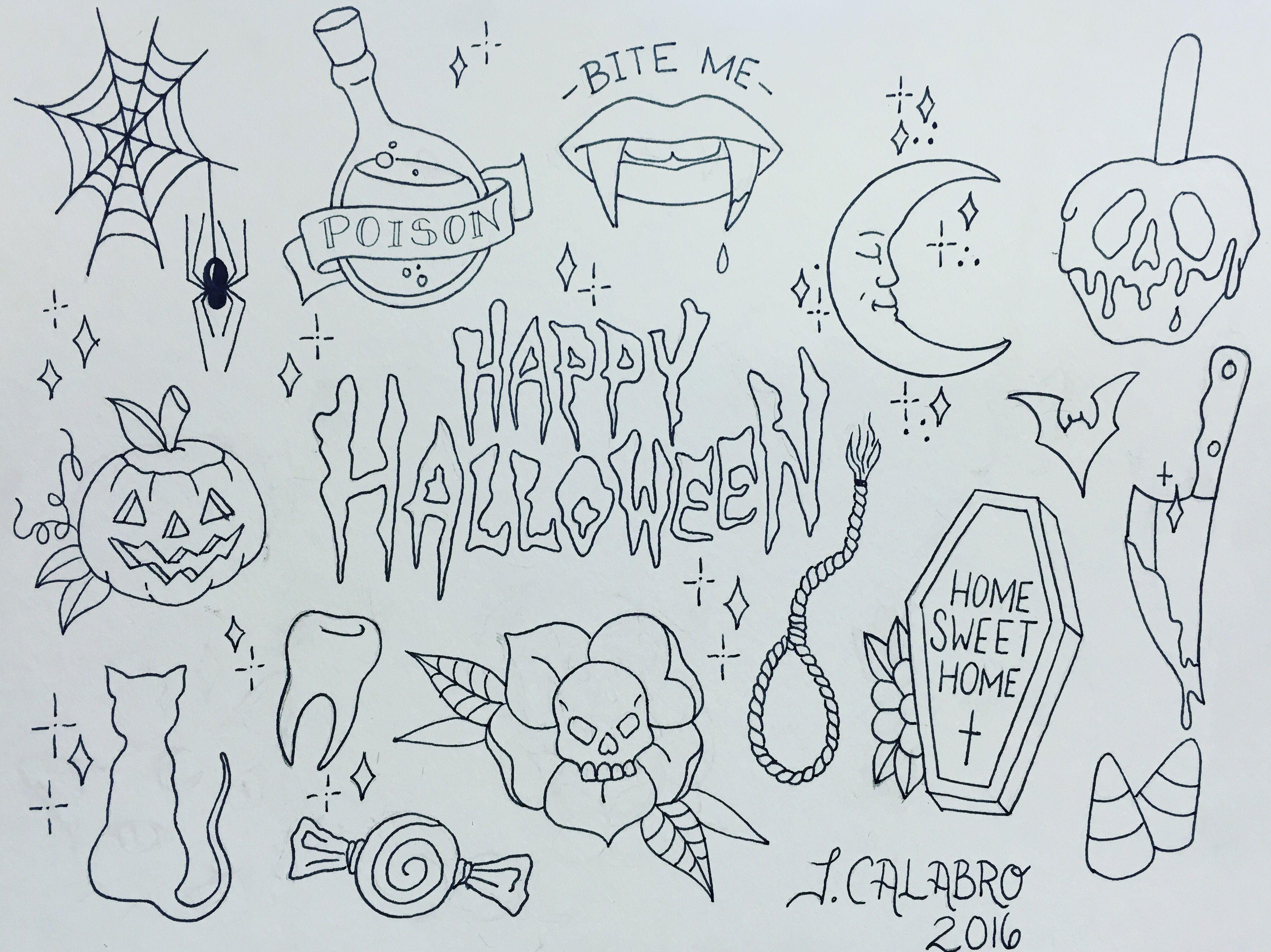 Halloween tattoo flash Halloween tattoo flash, Halloween