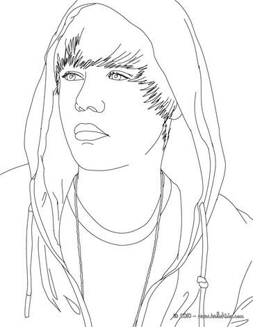 Justin Bieber Face Coloring Page More Singer Sheets On Hellokids