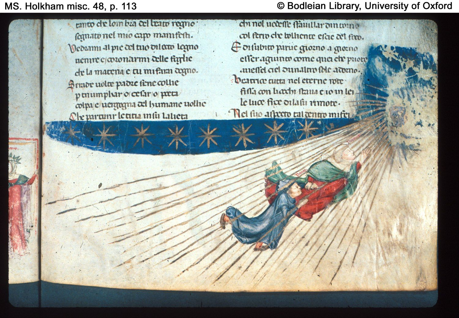 p. 113 (detail) Paradiso, Canto I. Dante and Beatrice ascend towards the sun.