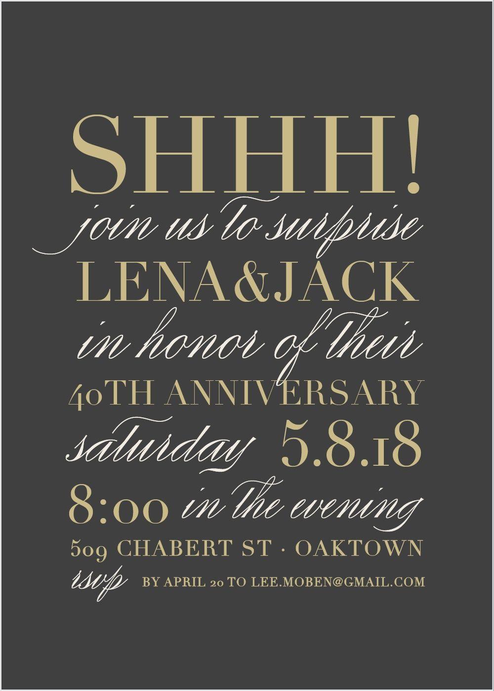 elegant surprise anniversary party invitations in 2018 anniversary