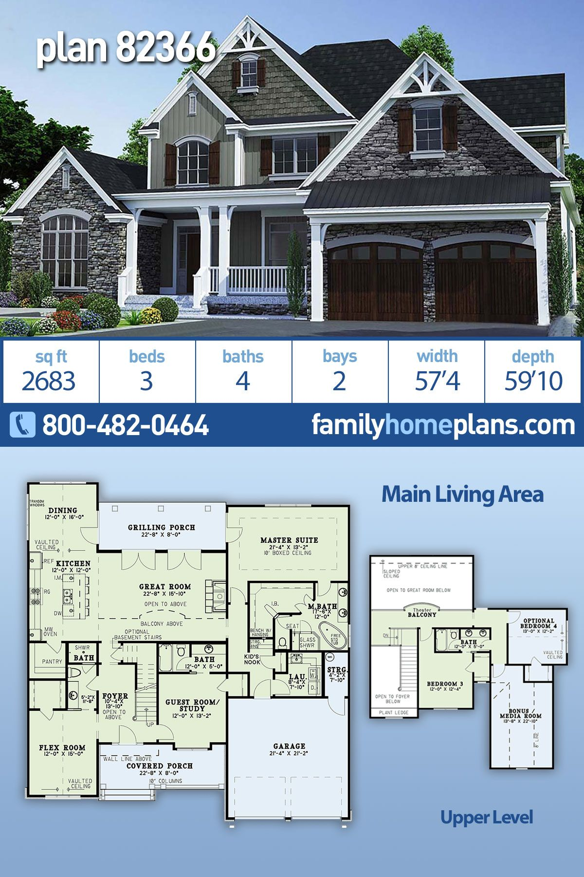 Traditional Style House Plan 82366 With 3 Bed 4 Bath 2 Car