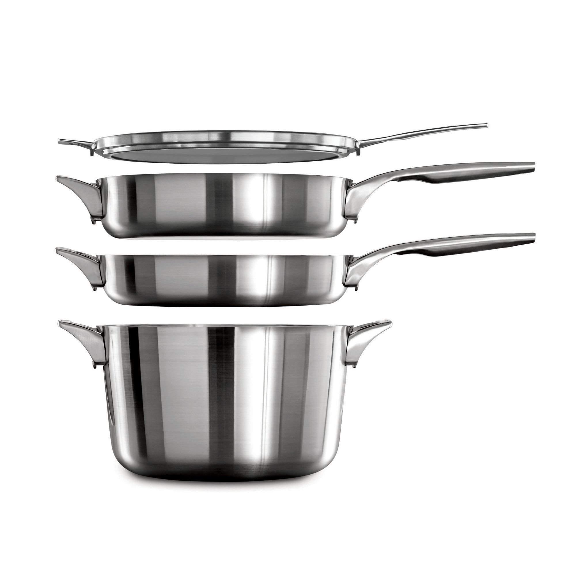 calphalon kitchen essentials stainless steel shaker style cabinets premier space saving 5 qt