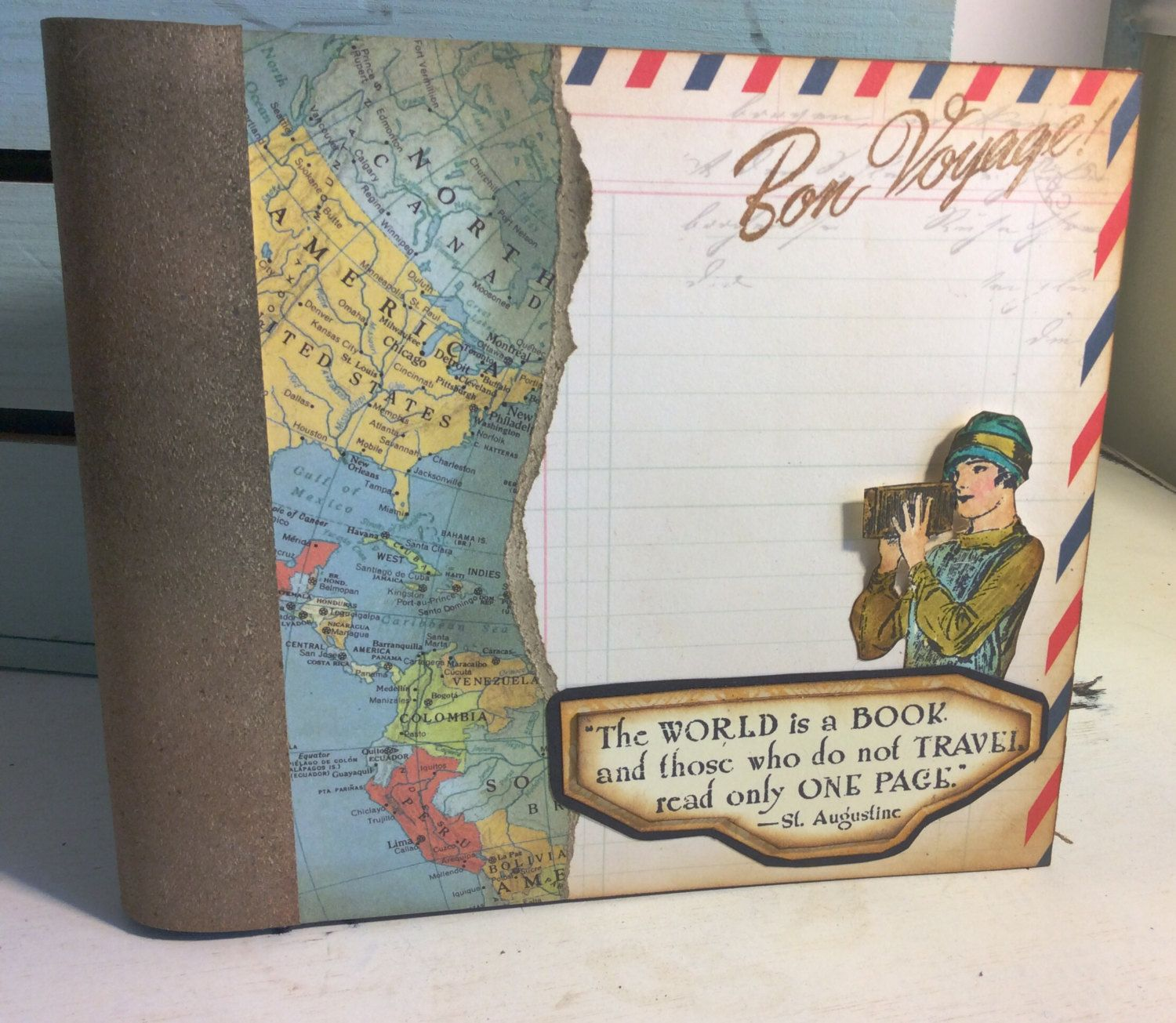Vintage Theme Travel Scrapbook Journal 6x6 Bo Bunny Paper Bound 6 Chipboard Pages 7 Cardstock Pages R Scrapbook Journal Travel Scrapbook Retro Graphics