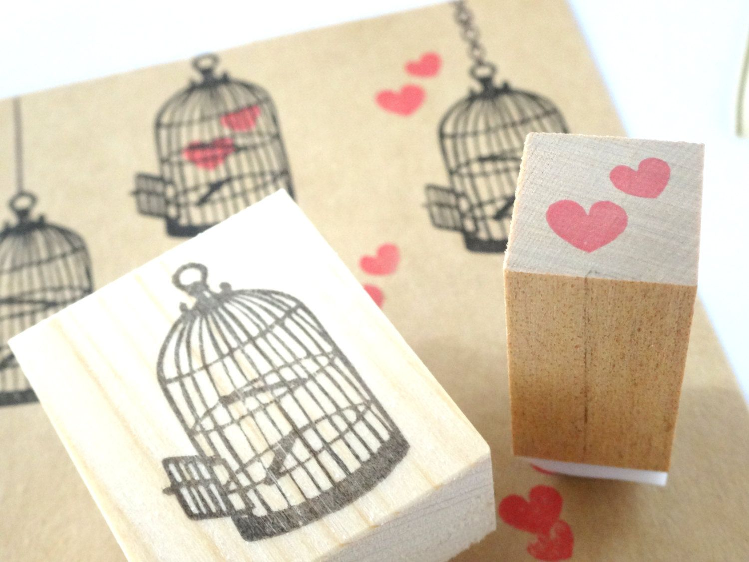 Antique birdcage with lots of heart rubber stamps, Wedding ...