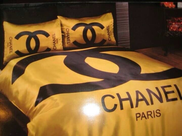 Gold Chanel Bedding Decor, Coco Chanel Bedding