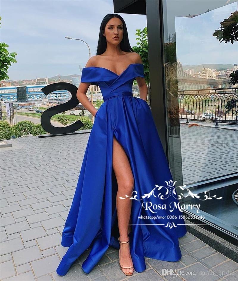 4860e81cc8d6 Sexy Royal Blue Plus Size Cheap Prom Dresses 2019 A Line Off Shoulder High  Split Simple
