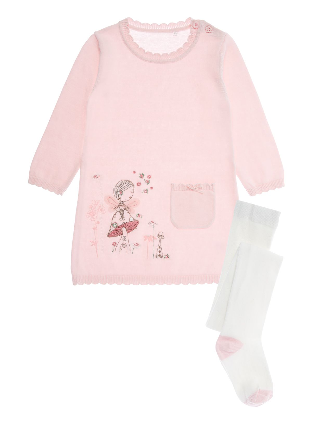 Baby Girls Pink Fairy Knitted Dress 0 24 months