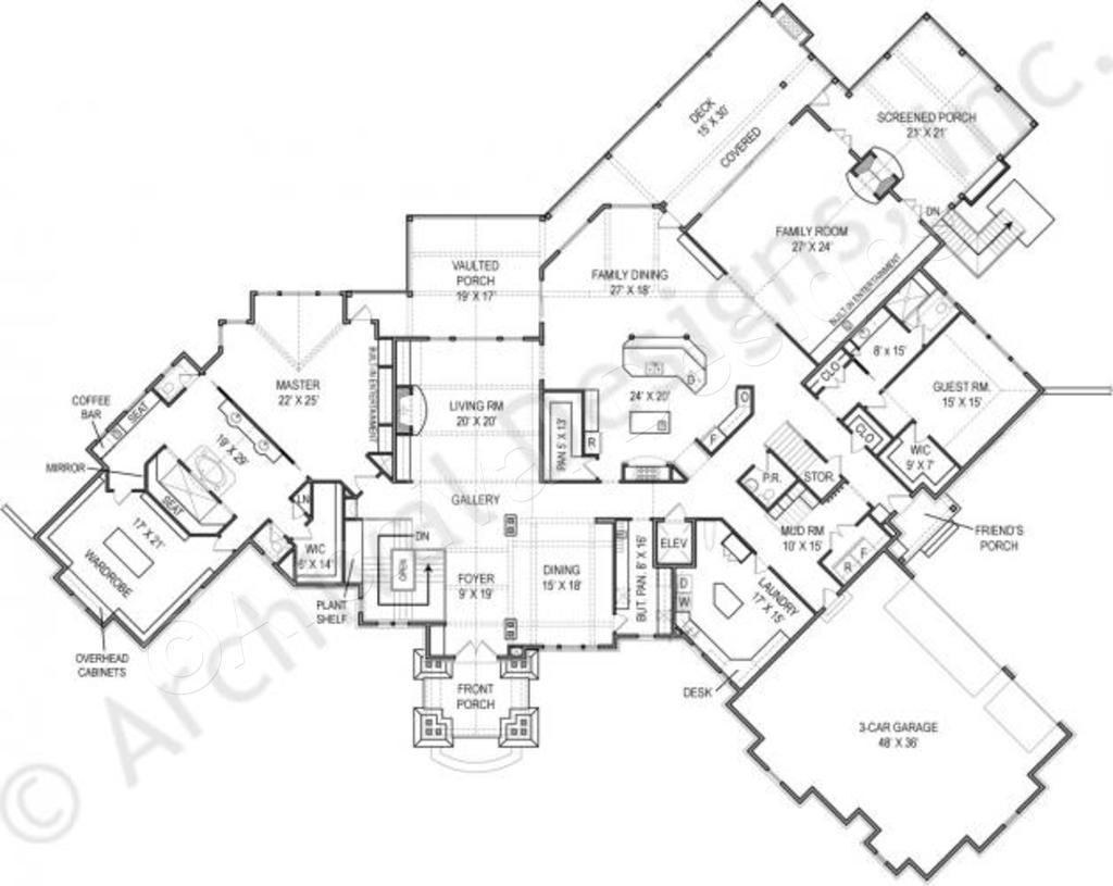 Kettle Lodge House Plan Daylight Basement Floor House Plan First Floor Plan Custom Floor Plans House Plans Luxury House Plans