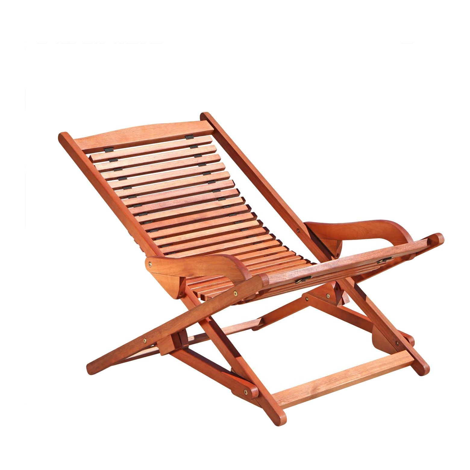Vifah Outdoor Wood Reclining Folding Lounge Brown