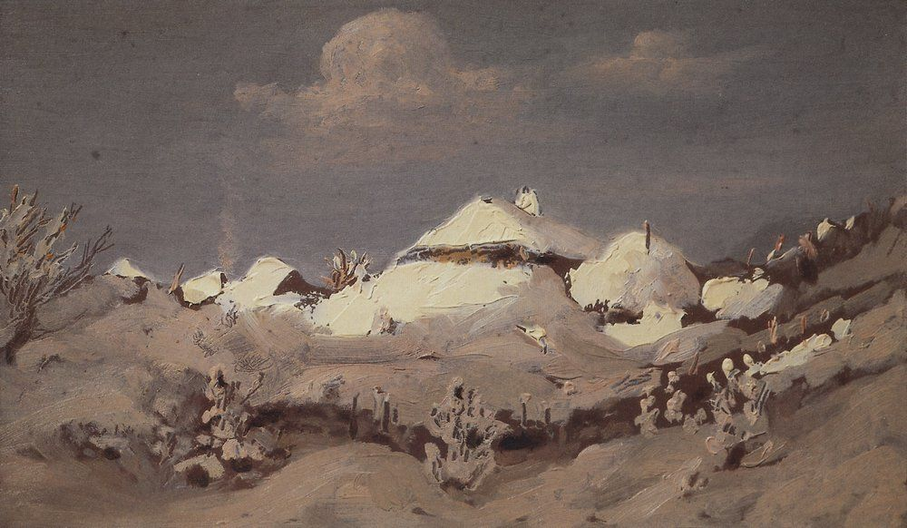 Kuindzhi Winter Light spots on the roofs of the huts 1890 1895.jpg