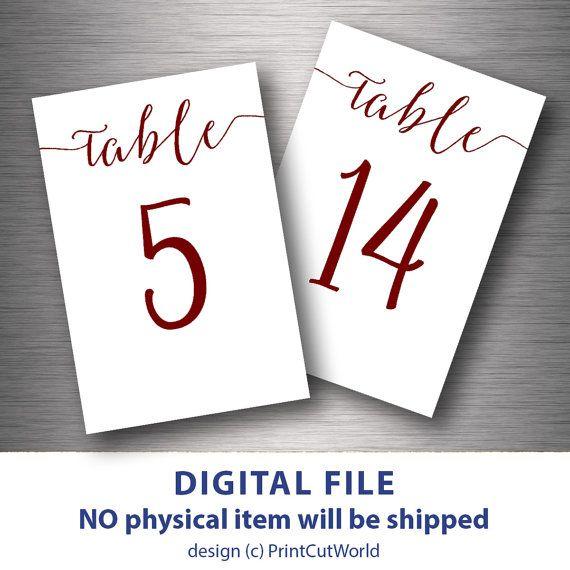 Table Numbers Printable 4x6 Burgundy Wedding Table Number 1 30 Etsy Wedding Table Numbers Template Printable Table Numbers Wedding Numbers