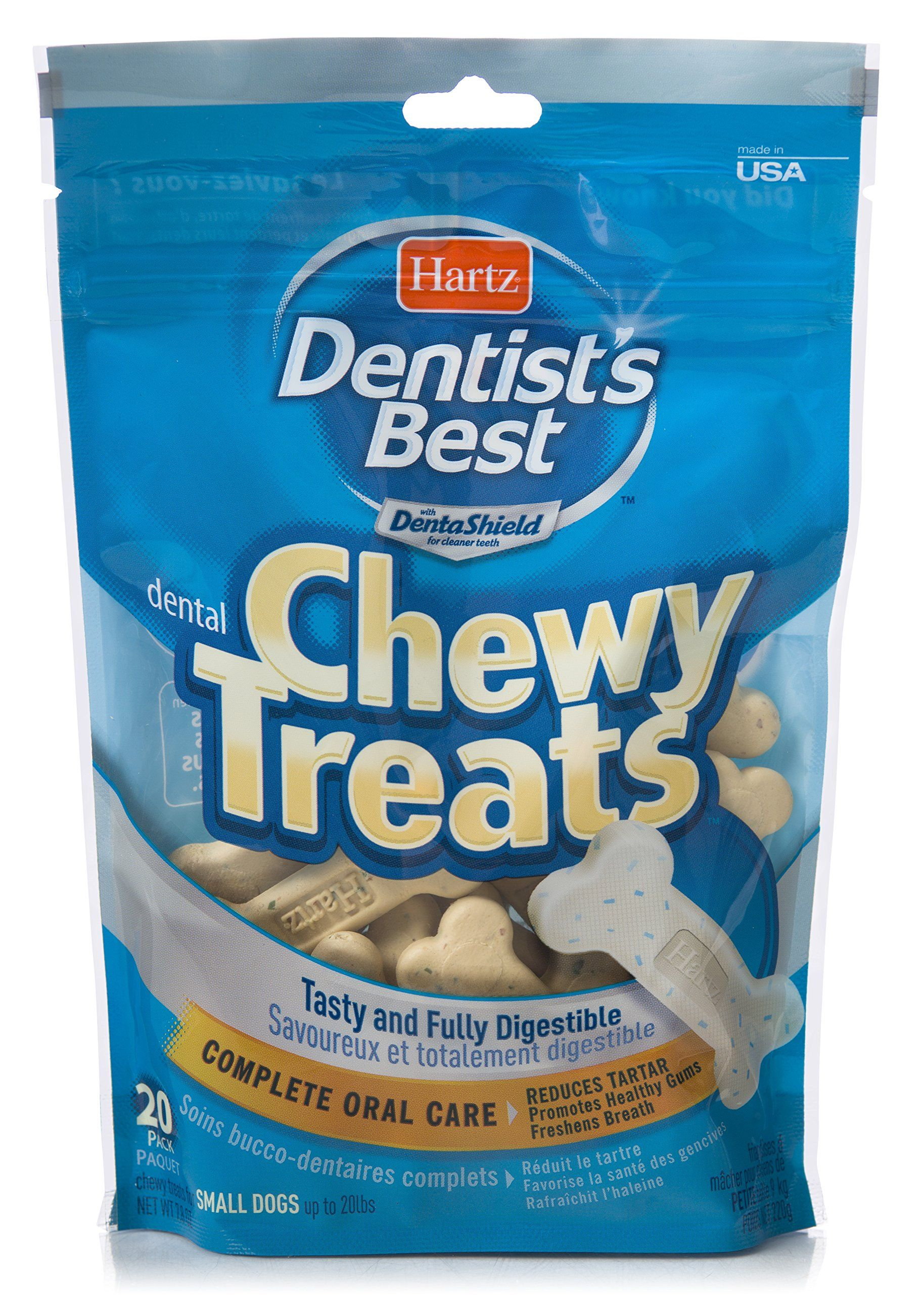 HARTZ Dentists Best Chewy Dental Care Dog Treat Bones 20