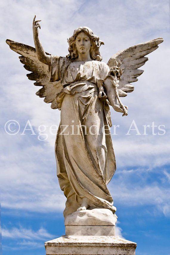 Color angel statue 1 instant digital photo download