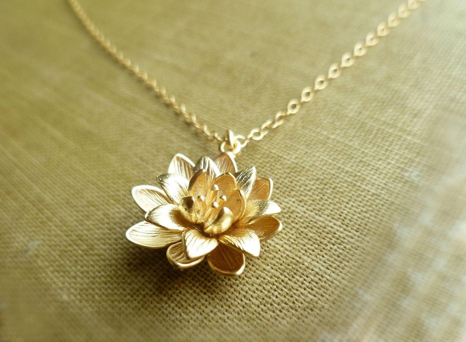 Gold Lotus Necklace Symbolic Flower Pendant On A
