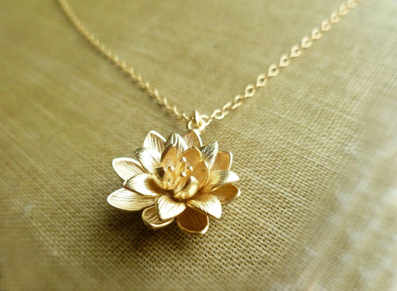 Gold lotus necklace symbolic flower pendant on a dainty gold gold lotus necklace symbolic flower pendant on a dainty gold filled chain audiocablefo