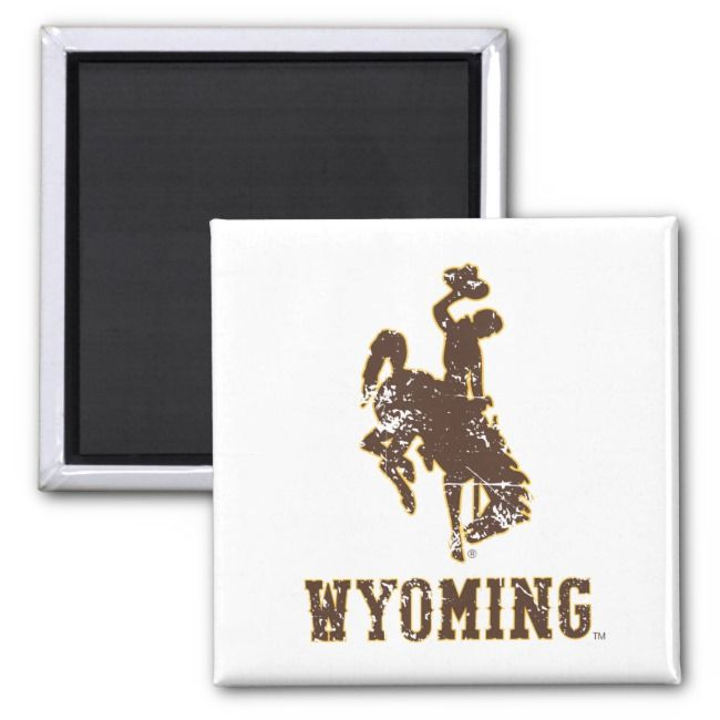 Wyoming Bucking Horse and Wordmark Distressed Magnet Affiliate
