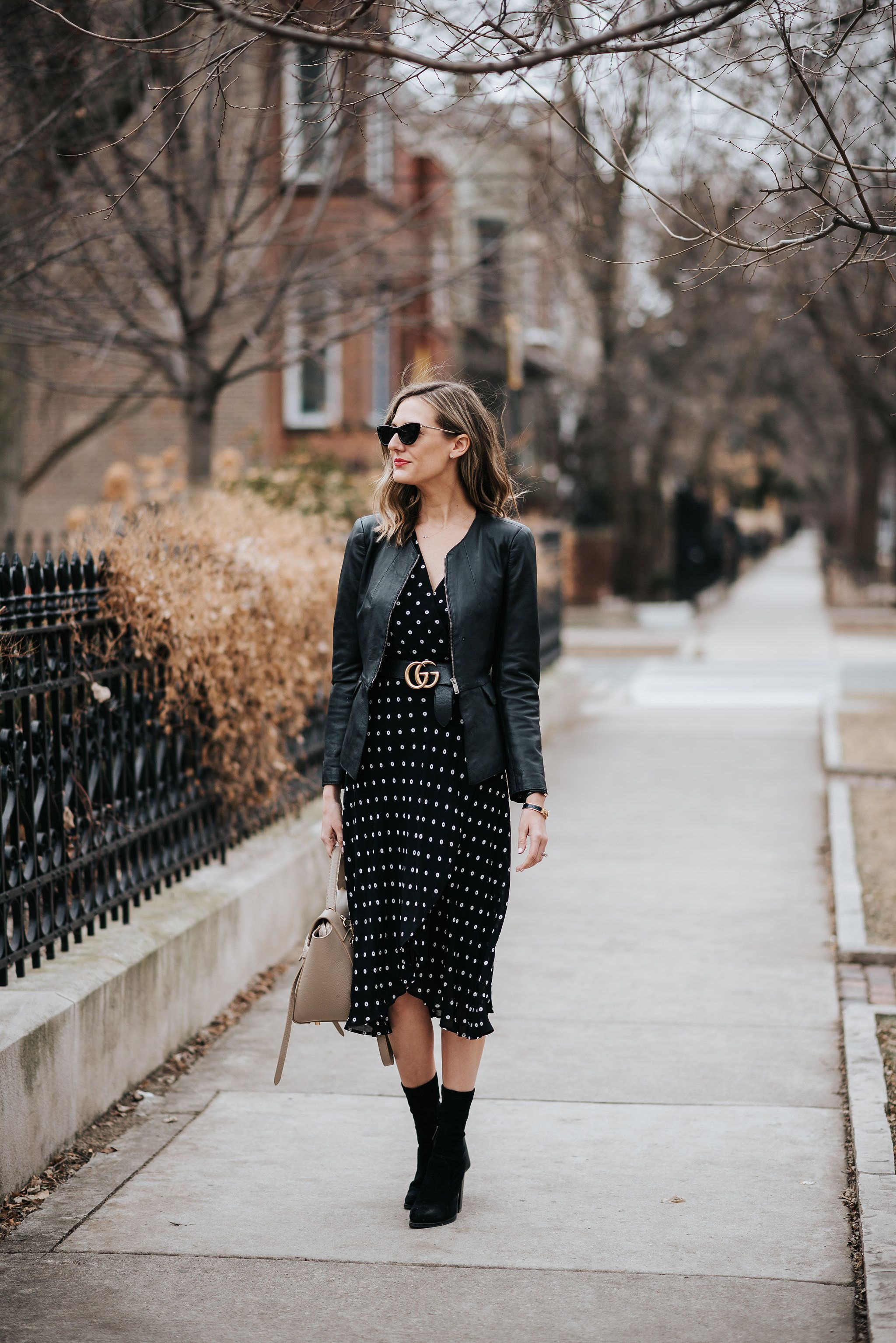 Polka Dot Midi Dress How To Transition Wardrobe From Winter To Spring White Floral Dress Outfit Winter Dress Outfits Floral Dress Outfits [ 3068 x 2048 Pixel ]
